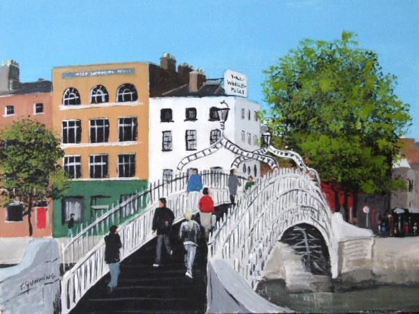 The Ha penny Bridge Dublin blue sky art